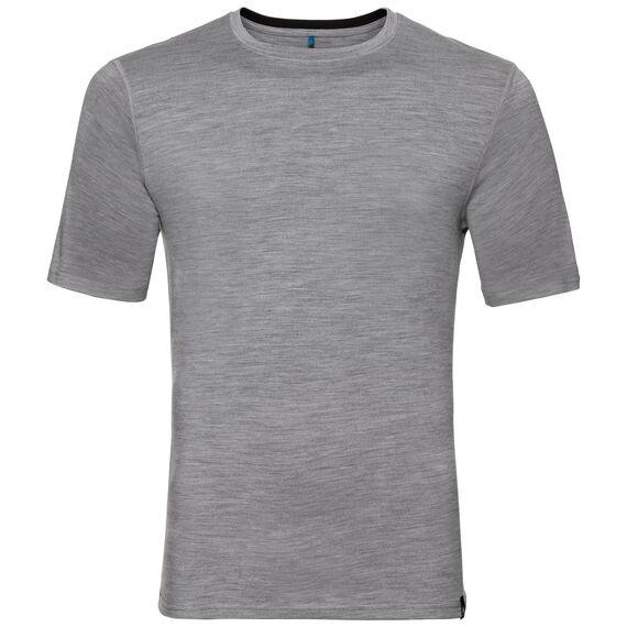 Natural 100 Merino Warm baselayer shirt short sleeve men, grey melange - black, large