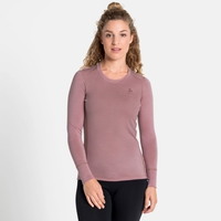 T-shirt technique à manches longues NATURAL 100 % MERINO WARM pour femme, woodrose, large