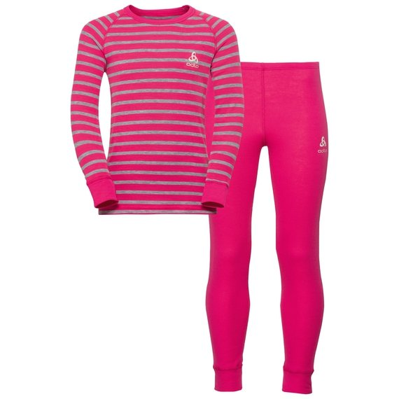 ACTIVE WARM KIDS Set, beetroot purple - grey melange - stripes, large