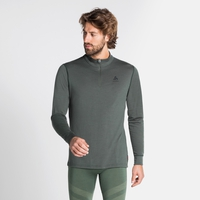 Maglia Base Layer a collo alto con 1/2 zip NATURAL 100% MERINO WARM da uomo, climbing ivy, large