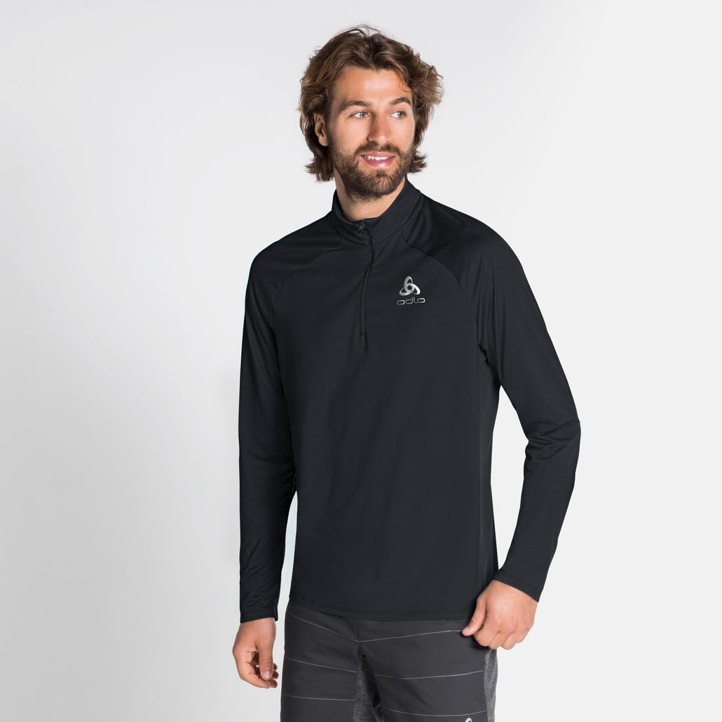 Men's CERAMIWARM ELEMENT Half-Zip Long-Sleeve Mid Layer Top, black, large
