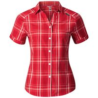 ANMORE Blouse shortsleeve women, bittersweet - chinese red - white - check, large