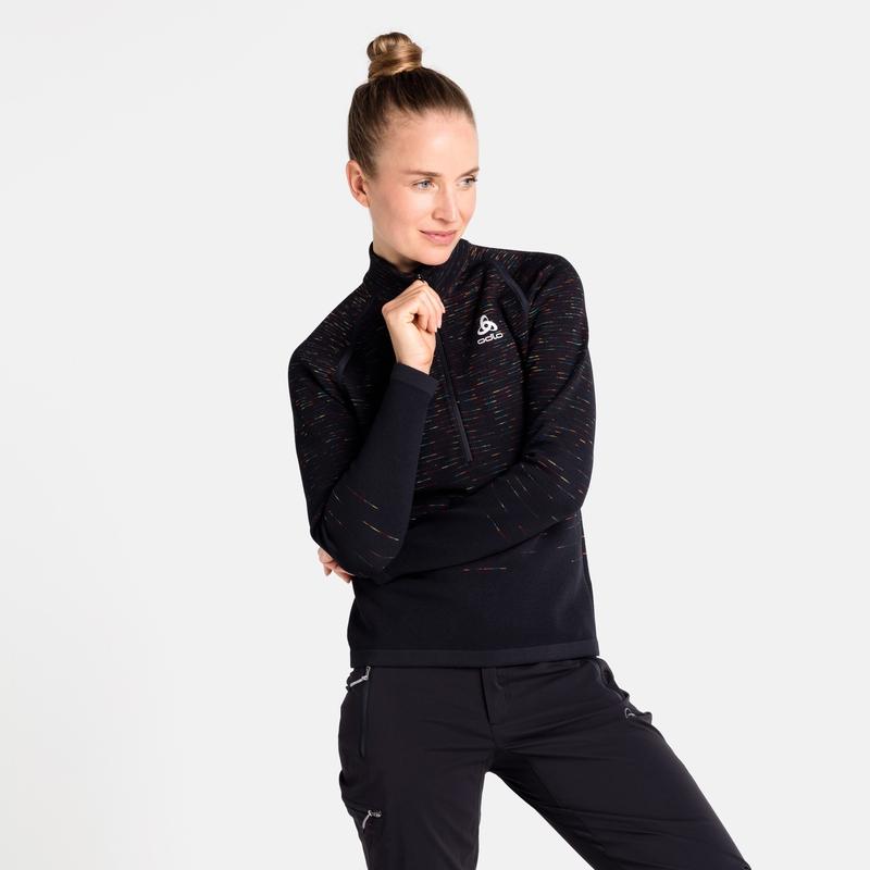 The Blackcomb mid layer half zip, black - space dye, large