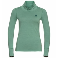 Women's NATURAL 100% MERINO WARM Turtle-Neck Long-Sleeve Baselayer Top, malachite green - grey melange, large