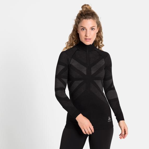 Tee-shirt technique à col montant ½ NATURAL + KINSHIP WARM pour femme, black melange, large