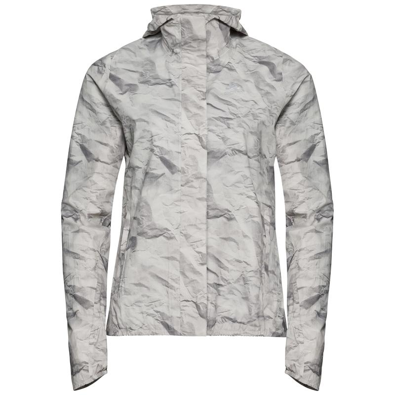 Women's FLI 2.5L Waterproof Jacket, odlo silver grey - paper print, large