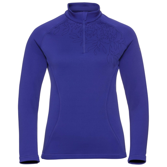 Pull ½ zippé GLADE pour femme, clematis blue - placed print FW19, large