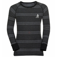 BL TOP Crew neck l/s ACTIVE WARM KIDS, black - grey melange - stripes FW19, large
