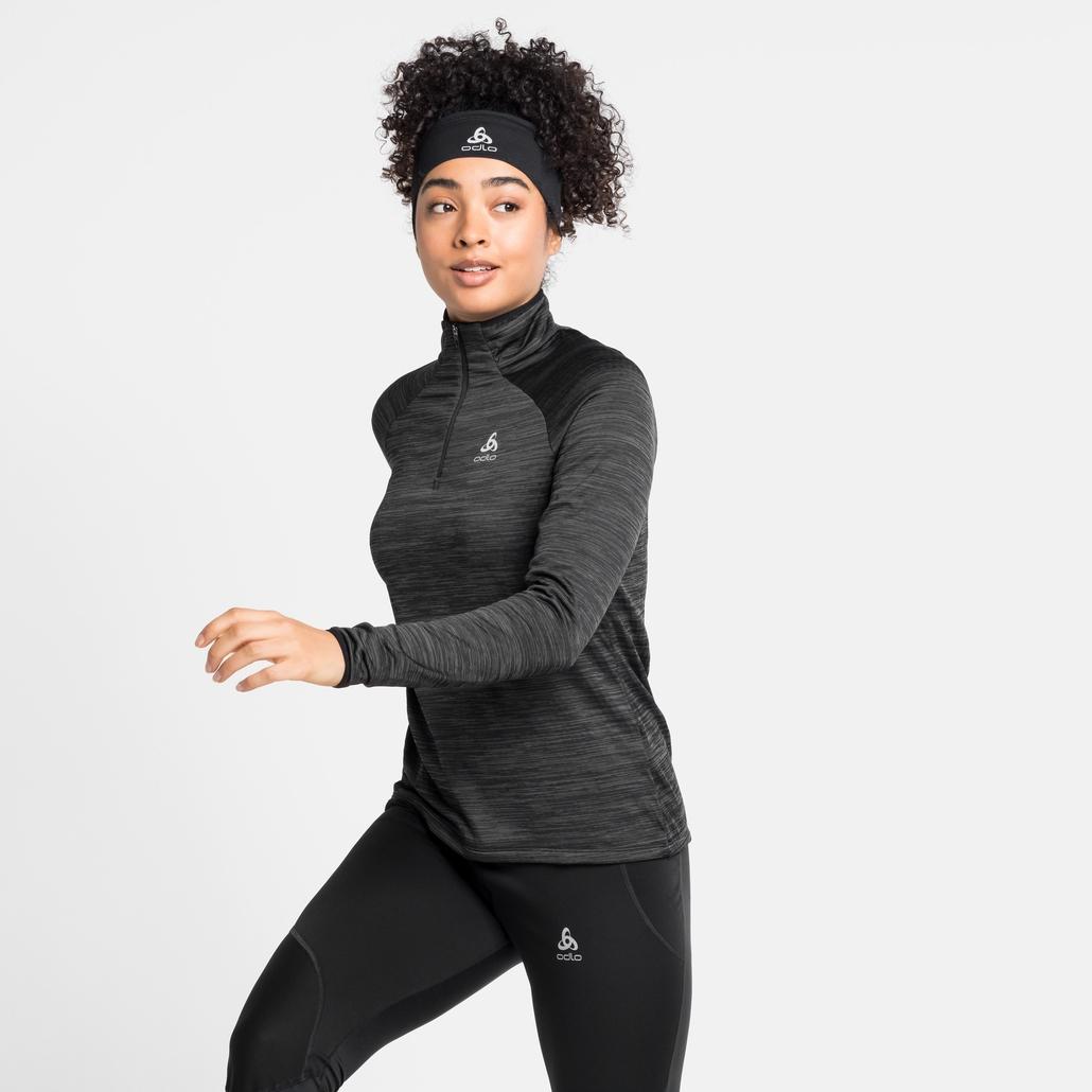 Women's MILLENNIUM ELEMENT Half-Zip Long-Sleeve Mid Layer Top, black melange, large