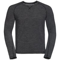 Shirt l/s crew neck NATURAL + WARM, black melange, large