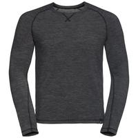Shirt l/s crew neck NATURAL + WARM, black melange, large
