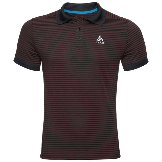 Polo s/s NIKKO DRY, black - fiery red - stripes, large