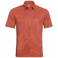 Men's NIKKO Short-Sleeve Shirt, mandarin red - china blue - check, large