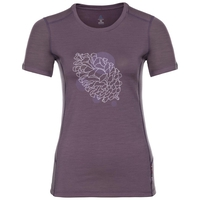 Women's ALLIANCE T-Shirt, vintage violet - pine cone print FW18, large
