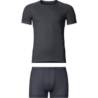 Cubic baselayer set men, ebony grey - black, large
