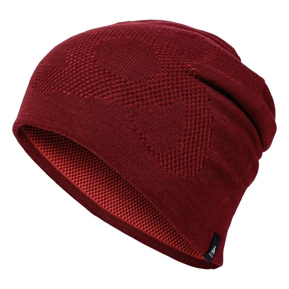 Bonnet MAILLE MOYENNE Reversible Warm, syrah - fiery red, large