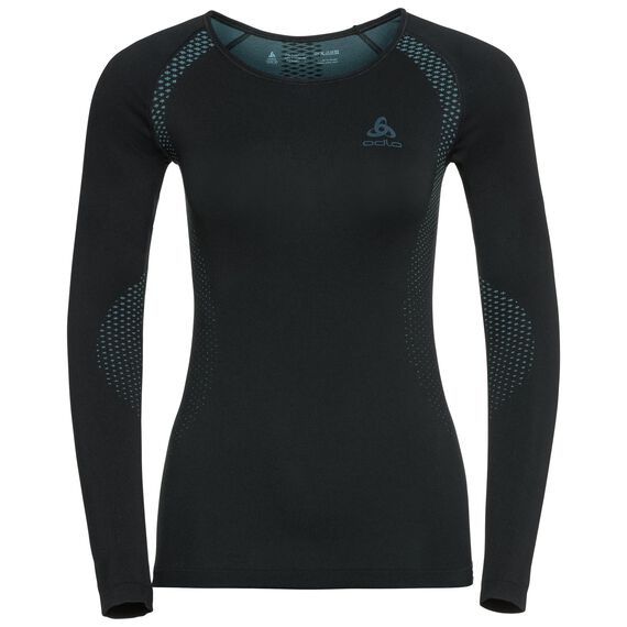 SUW TOP Crew neck l/s PERFORMANCE Essentials LIGHT, black - blue radiance, large