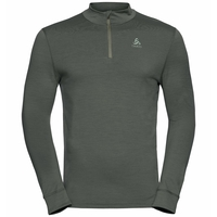 Men's NATURAL 100% MERINO WARM 1/2 Zip Turtle-Neck Baselayer Top, climbing ivy, large