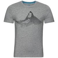 Men's NIKKI PRINT T-Shirt, grey melange - placed print SS18, large