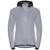 Hoody midlayer full zip KATJA, grey melange, large