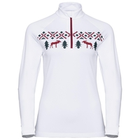 Midlayer 1/2 zip PAZOLA REINDEER, white, large