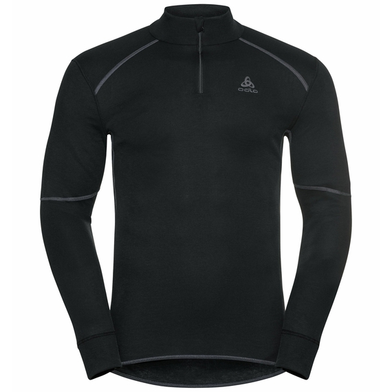 Men's ACTIVE X-WARM ECO Half-Zip Turtleneck Baselayer Top, black, large