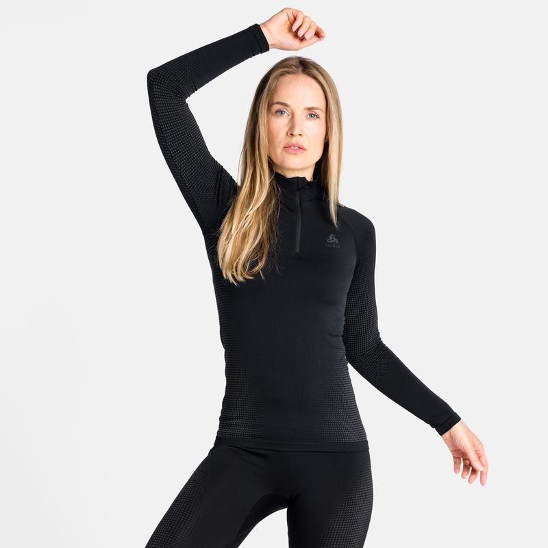 Tee-shirt technique à col montant ½ zippé PERFORMANCE WARM ECO pour femme, black - odlo graphite grey, large