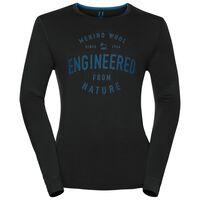 Shirt l/s crew neck NATURAL 100% MERINO PRINT WARM, black - mykonos blue, large