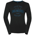 Shirt l/s crew neck NATURAL 100% MERINO PRINT WARM, black - mykonos blue, large