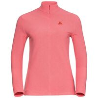 Midlayer 1/2 zip ROY, hot coral - white stripes, large