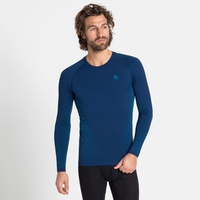 Men's PERFORMANCE WARM ECO Long-Sleeve Baselayer Top, estate blue - atomic blue, large