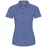 Women's KUMANO CHECK Short-Sleeve Blouse, amparo blue - odlo concrete grey - check, large