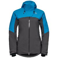 SLY X insulated ski jacket, blue jewel - odlo graphite grey, large
