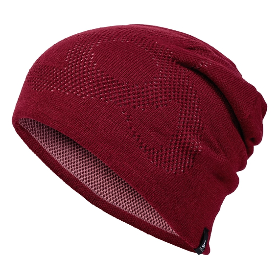 Bonnet MAILLE MOYENNE Reversible Warm, rumba red - mesa rose, large
