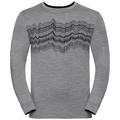 Shirt l/s crew neck NATURAL 100% MERINO PRINT WARM, grey melange - black, large
