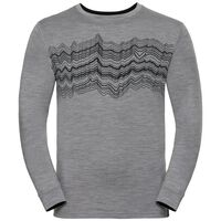Shirt l/s crew neck NATURAL 100% MERINO PRINT WARM, grey melange - black, large