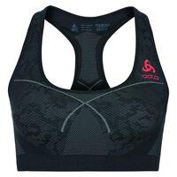 Sports Bra Seamless MEDIUM, black - odlo concrete grey - hot coral, large