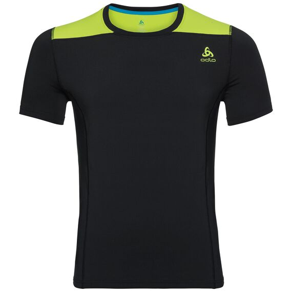 BL Top Crew neck s/s CERAMICOOL, black - acid lime, large
