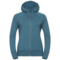 Damen ALMA NATURAL Midlayer Hoody, agean blue melange, large