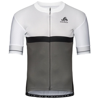 Men's ZEROWEIGHT CERAMICOOL PRO Full-Zip Short-Sleeve Cycling Jersey, white - odlo graphite grey, large