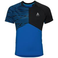 MORZINE kurzärmeliges Shirt mit Rundhalsausschnitt, energy blue - black, large
