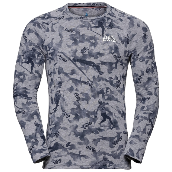 Men's ACTIVE WARM ORIGINALS Long-Sleeve Base Layer Top, grey melange - AOP FW19, large
