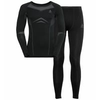 Men's WINTER SPECIALS PERFORMANCE EVOLUTION WARM Baselayer Set, black - odlo graphite grey, large