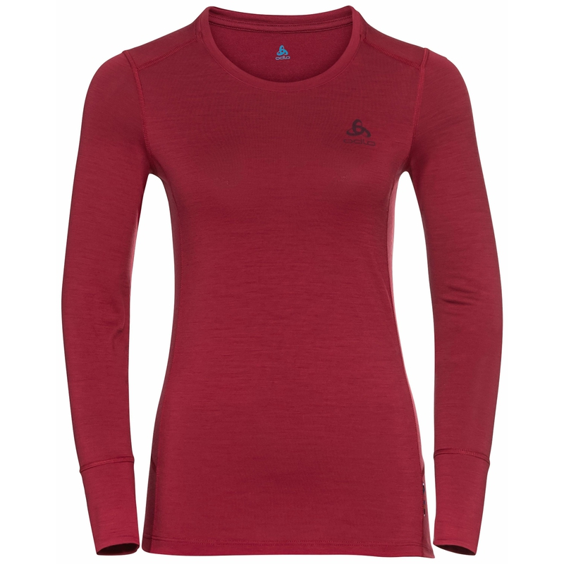 Damen NATURAL 100% MERINO WARM Sportunterwäsche Langarm-Shirt, deep claret, large