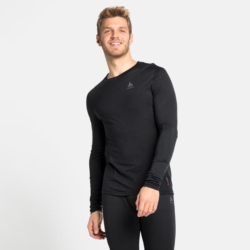 Herren NATURAL + LIGHT Base Layer Langarm-Shirt, black, large