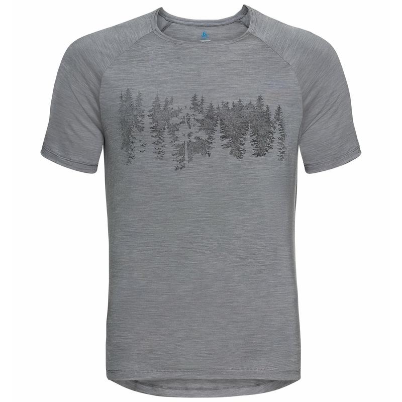 Herren CONCORD T-Shirt, grey melange - forest graphic SS21, large