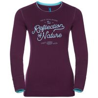 Shirt l/s crew neck NATURAL 100% MERINO PRINT WARM, pickled beet - blue radiance, large