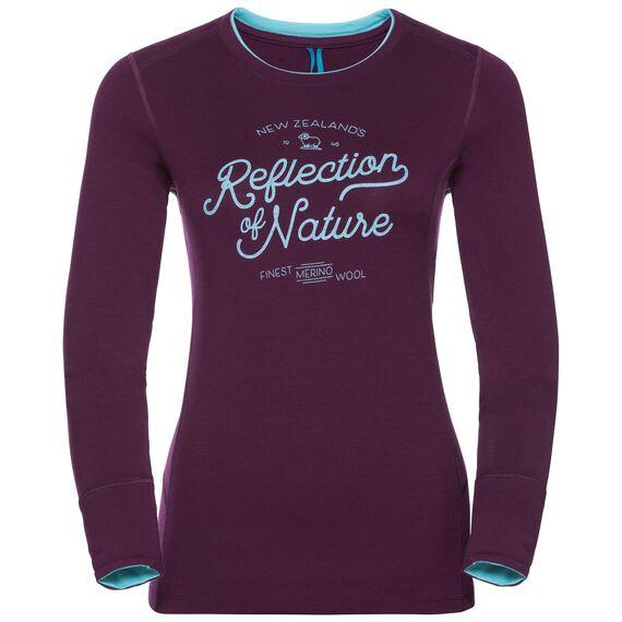 Shirt l/s crew neck NATURAL 100% MERINO PRINT WARM, pickled beet - blue radiance, large