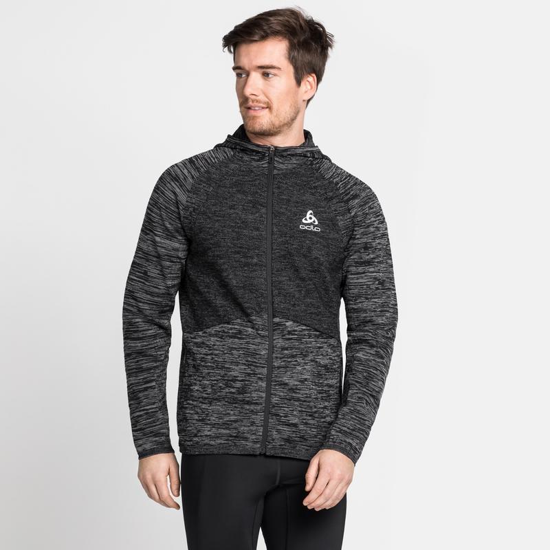 Men's MILLENNIUM PRO Running Jacket, black - odlo graphite grey - odlo steel grey, large