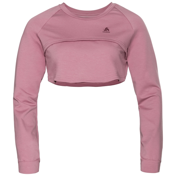 BL TOP cropped crew neck l/s FANCY MARBLE, lilas, large